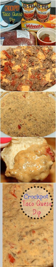 Need the perfect party dip? Try this Crockpot Taco Queso Dip recipe. It's cr… - Crockpot Recipe Think Food, I Love Food, Good Food, Yummy Food, Slow Cooker Recipes, Crockpot Recipes, Cooking Recipes, Sausage Recipes, Crock Pot Tacos