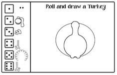 Roll and Draw Turkey, Leaf person, Carrot person, and Pump