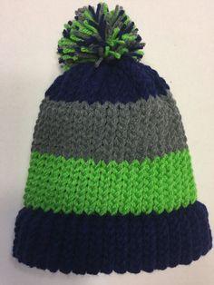 ca9b2ea67b7 Boys Girls Adult S blue grey green stripe winter pom pom hat Hand KNIT in  USA