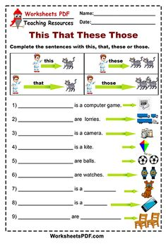 This That These Those - Free Printables - Worksheets PDF English Activities For Kids, English Grammar For Kids, Learning English For Kids, Teaching English Grammar, English Worksheets For Kids, English Lessons For Kids, Grammar Lessons, Learn English Words, English Language Learning