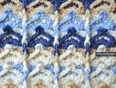 Multicolored shell stitch mypicot