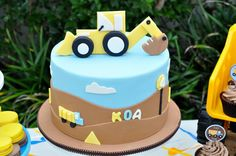 Sweet Sense Cakes here in Australia styled and made all the sweet treats including the super cute cake, I love this construction party, love the cake and how the cupcakes are tumbling out of the truck. Construction Theme Cake, Construction Birthday Parties, Construction Invitations, Little Boy Cakes, Cakes For Boys, Digger Cake, Cake Designs For Kids, Truck Birthday Cakes, Fairy Cakes