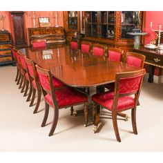 A fabulous antique dining set comprising a William IV solid mahogany dining table and a set of 14 Victorian dining chairs. Buy Dining Table, Mahogany Dining Table, Extendable Dining Table, A Table, Dining Sets, Upholstered Dining Chairs, Dining Room Chairs, Dining Room Furniture, Furniture Design