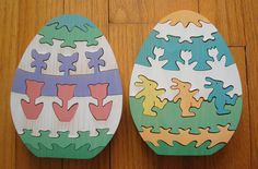 Lot of 2 Department 56 Wooden Easter Egg Jigsaw Puzzles Tulips Bunnies Complete #Department56