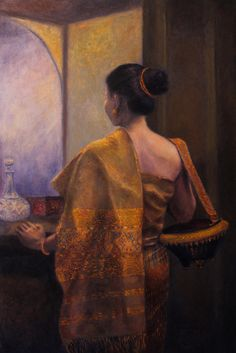The Golden Shawl Painting by Sompaseuth Chounlamany Pattern Art, Abstract Pattern, Abstract Art, Laos Culture, I Love Mirrors, Thai Art, Rustic Gardens, Funky Junk, Stamp Collecting