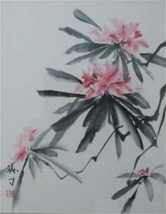 Rhodedendron ink painting