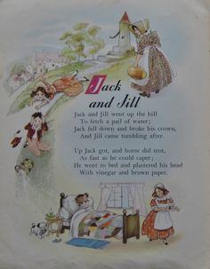 Jack and Jill - from Hilda Boswells Treasury of Nursery Rhymes (edition late early Nursery Rhymes Lyrics, Old Nursery Rhymes, Nursery Rymes, Traditional Nursery Rhymes, Pomes, Rhymes Songs, Kids Poems, Rhymes For Kids, Vintage Nursery