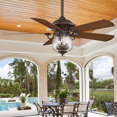 Indoor Outdoor Cloche Glass Ceiling Fan $489.00 this would look great in the sunroom.