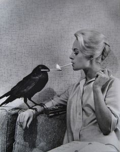 The Birds, Hitchcock, between takes...