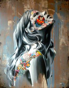 Adding a superhero comic book mash-up to her distinctive portraiture, French artist Sandra Chevrier has been creating bold paintings for a few years. The style of the artworks look like collages of newspaper. Collages, Collage Art, Sandra Chevrier, A Level Art, Art Graphique, Canadian Artists, Street Art Graffiti, Mixed Media Canvas, Art Design