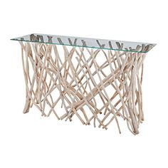 natural driftwood branches finished in a light wash finish and topped with clear glass, this unique console table is designed to add elements of . Dining Set For Sale, Dining Sets, Sectional Sofa With Recliner, Sleeper Sofas, Living Furniture, Living Room Chairs, Contemporary Dining Room Sets, Dorm Room Bedding, Table For Small Space