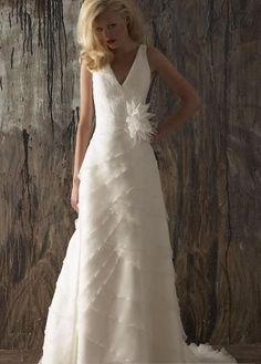wedding dressses, idea, vneck brush, bridal dresses, empir vneck