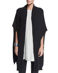 Ribbed+Fine-Gauge+Cashmere+Wrap+Poncho+by+Eileen+Fisher+at+Neiman+Marcus.