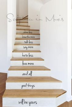 All Good Things Stairs Decal by ScriptumVinyl on Etsy Stair Decor, Staircase Decoration, Foyer Decorating, Stairway To Heaven, Basement Remodeling, Cheap Home Decor, Stairways, Home Projects, Future House