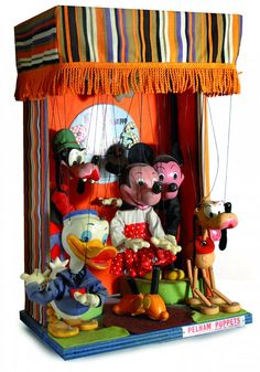 "Promotional Disney Display ""Pelham Puppets"", made in Great Britain in the Minnie Mouse, Mickey Mouse And Friends, Old Disney, Vintage Disney, Pelham Puppets, Disney Collectibles, Disney Merchandise, Store Displays, Medium Art"