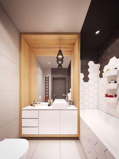 salle de bains avec meuble sous-vasque à tiroirs blancs, suspension noire et un carrelage moderne hexagonal en noir et blanc