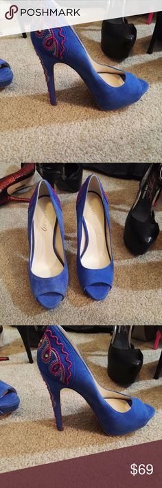 boutique 9 leather high heels platform shoes, new woman boutique 9 genuine leather high heels platform shoes, size 7. blue. genuine leather.  brand new. never worn.  It is store display item.  As you can see from picture, the color in one pair is slightly lighter than the other one. Boutique 9 Shoes Heels
