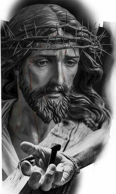 Jesus Artwork, Jesus Christ Painting, Christus Tattoo, Religious Tattoo Sleeves, Jesus Tattoo Design, Tattoo Bunt, Archangel Tattoo, Heaven Tattoos, Jesus Drawings