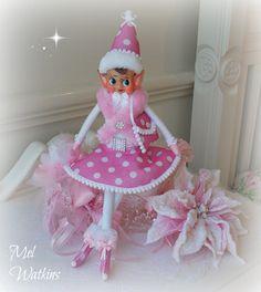 Vintage Pink Polka Dot elf - Mel Watkins Pink Elves - my creations - Need to make more lol :) SOLD <3