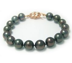 9-9.9mm Tahitian Pearl Bracelet with 14k Yellow or White Gold Clasp