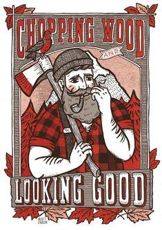chopping wood, looking good.... beard art artwork lumberjack bearded man paul bunyan axe