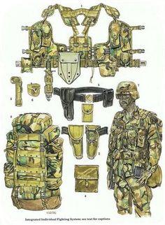 Army combat equipment, modern U. Military Gear, Military Police, Military Weapons, Military Equipment, Military History, Usmc, Military Uniforms, Tactical Equipment, Survival Equipment