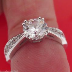 1.50ct Round brilliant cut Solitaire with Accents Engagement Ring 14K white Gold