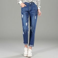18.55$  Watch now - 2017 New Fashion Spring Summer Women Jeans Ripped Holes Casual Denin Pants  Loose Plus Size Vintage Boyfriend Cowboy Pants 9918  #buychinaproducts