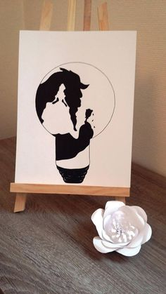 Affiche Illustration Noir et blanc ampoule  la belle et