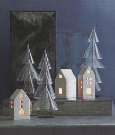 Tea Light Candle Houses Votives Christmas Gift Decoration Set of 3 | NOVA68 Modern Design