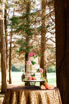 Glamorous & Rustic Secret Garden Inspired Wedding // naked wedding cake// A Polished Plan Event Design // Greg Lewis Photography // Everthine Bridal Boutique // Stems Flower Design // Dana Bartone & Co // Social Decor // Coral Pheasant Stationary // Taste by Spellbound // Sassafras Vintage Rentals // Wadsworth Mansion // Black Swan Limo // La Tavola Fine Linen // Party Rental Ltd   Read More: http://www.stylemepretty.com/new-england-weddings/2014/03/12/glamorous-secret-garden-inspiration/