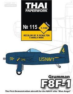 Grumman F8F-1 Blue Angel Free Aircraft Paper Model Download