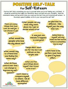 Positive Self-Talk for Self-Esteem – Alyssa Boardman – art therapy activities Self Esteem Worksheets, Self Esteem Activities, Therapy Worksheets, Counseling Activities, Therapy Activities, Social Activities, School Counseling, Anger Management Activities, Cbt Therapy