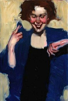Smiles: unknown title, by Milt Kobayashi (Japanese-American b1970). An unexpected laugh when she was trying to be serious?