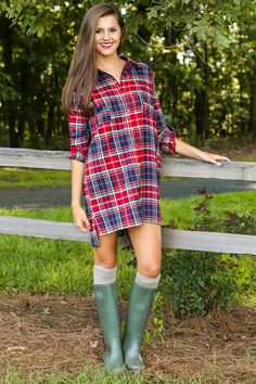 Always Have, Always Will Plaid Dress-Red - All Dresses | The Red Dress Boutique