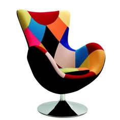 Fauteuil oeuf patchwork Arne Jacobsen