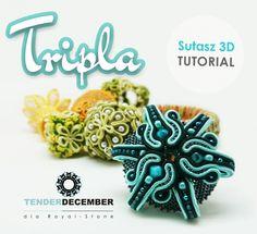 "Wisior ""Tripla"" - darmowy tutorial sutasz 3D, Tender December dla Royal Stone  http://blog.royal-stone.pl/szyjemy-z-tender-december-sutasz-3d/"
