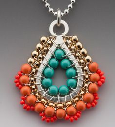 Pendant, Paisley Necklace in Grapefruit colored Beadwork