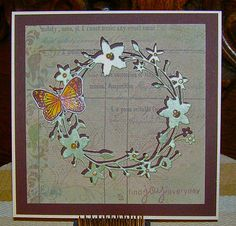 Memory Box craft die/ Catalina Wreath, stamps: Memory Box and Hero Arts, Memory Box 6x6 paper collection/Valise by linda blackbird, via Flickr