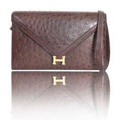 Hermes Vintage Brown Ostrich Lydie Clutch Bag, Rare   Portero Luxury