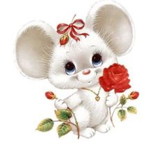 Cute mouse with rose