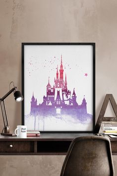 Disney castle watercolor, Watercolor print, Disney poster, princess castle, castle watercolor, princess watercolor, Wall art, kids decor. by iPrintPoster on Etsy https://www.etsy.com/listing/227309996/disney-castle-watercolor-watercolor