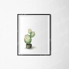 Cactus watercolor print Digital botanical wall art Green