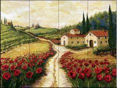 Ceramic Tile Mural - Red Poppy Road - by Joanne Margosian - Kitchen backsplash / Bathroom shower