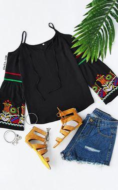 Black Embroidered Bell Sleeve Cold Shoulder Top