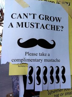Challenge: make this poster, put it on a pole, come back the next week and see if any of the mustaches were taken.