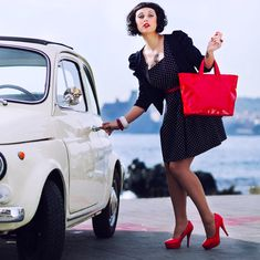 """""""Happiness is going shopping in my Fiat 500."""""""