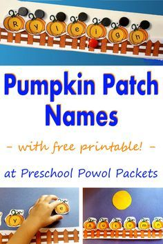 Awesome pumpkin themed name learning activity with a free printable AND loads of preschool pumpkin activities!!
