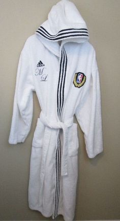 Adidas NBA All-Star basketball game white hooded terry bath robe, Size XL  #adidas