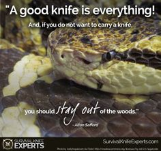 """"""" A good knife is everything! And if you do not want to carry a knife, you should stay out of the woods. Out Of The Woods, Survival Quotes, Survival Knife, Prayers, Knives, Inspiration, Ideas, Biblical Inspiration, Prayer"""